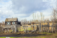 View of the Russian village Stock Images