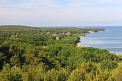 The view of the russian village Morskoe from the dune Efa. Royalty Free Stock Image