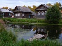 View of Russian village. Summer view of Russian village in Tverskaya Region stock photo