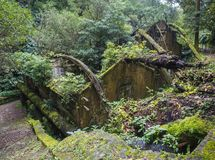 View on rusty ruins of old 19th century abandoned factory Fabrica da Cidade and Fabrica da Vila, lost in forest with. Moss and ferns on hiking trail Quatro royalty free stock photos