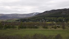 View from Ruthven Barracks Cairgorn national park Scotland of A9 road and countryside stock video footage