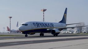 View of Ryanair Aeroplane on taxi at Berlin schoenefeld airport Germany stock video