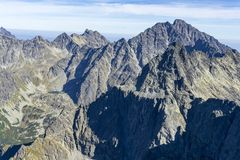 View from Rysy on Gerlach and other peaks of the Slovak High Tatras royalty free stock photography