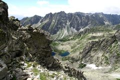 View from Rysy peak in Tatry mountains. In Poland Stock Photo