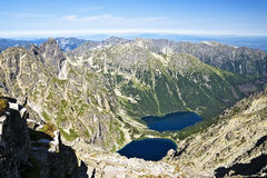View from Rysy, at Valley Eye Sea, the Polish Tatras. Royalty Free Stock Photo