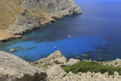 View of Sa Calobra bay Stock Images