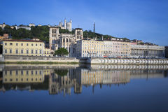 View of Saône river with Saint-Jean church Stock Photography