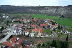 View of Saaleck town from Saaleck fortress, Germany Royalty Free Stock Images