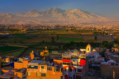 View from Sachaca District, Arequipa Peru. stock image