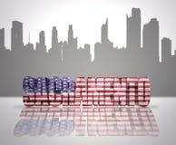 View of Sacramento City. Word Sacramento with National Flag of USA near skyline silhouette stock image