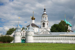 View of the Sacred gate and St. Nicholas Church in the July afternoon. Vvedensky Tolga Convent, Yaroslavl. Golden Ring of R. View of the Sacred gate and St royalty free stock photos