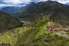 View of the Sacred Valley in Pisac. View of the Sacred Valley and ancient Inca terraces in Pisac, Peru Stock Images