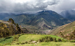 View of the sacred Valley and Urubamba in Peru Stock Image