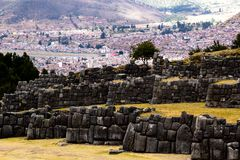 View of Sacsayhuaman wall, in Cuzco, Peru. Royalty Free Stock Photos