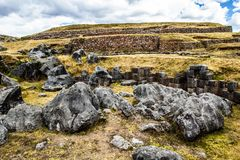 View of Sacsayhuaman wall, in Cuzco, Peru. Stock Photography