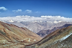 View from the saddle Kardung La Nubra valley Stock Photos