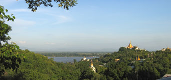 View from the Sagaing hill. On Paya Mingun and Amarapura with the Ayeyarwady river - Mandalay - Myanmar - Panorama Royalty Free Stock Photography