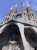 View of the Sagrada Familia. The Sagrada Familia is an essential stop for most tourists visiting Barcelona.The Passion Facade sculptures royalty free stock images