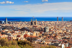 View of Sagrada Familia and Agbar Tower from Park Guell. Barcelona, Spain Royalty Free Stock Photos
