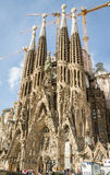 View of the Sagrada Familia cathedral, designed by Antoni Gaudi, stock images