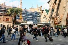 View of the Sagrada Familia a large Roman Catholic church in Barcelona Spain Royalty Free Stock Image