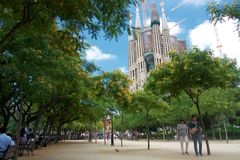 View of Sagrada Familia from park Royalty Free Stock Images