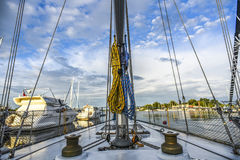 A view from sailing boat on boat elements in marine, sunny day s Stock Photos
