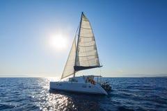 Sailing catamaran sail the Aegean sea Stock Photography
