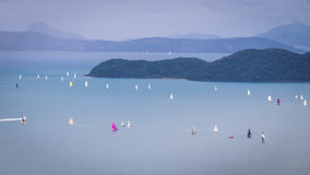 View on sailing regatta at Whitsunday Islands. From a mountain near Airlie beach, Queensland, Australia Stock Image