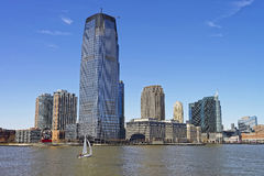 View on a sailing ship and New Jersey skyline Stock Photo