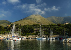 View of sailing yachts in the Mediterranean in beautiful the morning light, a summer cruise. Italy. Formia. Stock Image