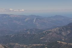 View of the sailplane over the mountains Stock Image