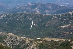 View of the sailplane over the mountains Royalty Free Stock Photos