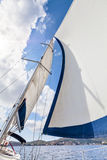 View of the sails and mast tilt in the wind Stock Photography