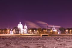 View on the Saint Alexander Nevsky Lavra in Saint Petersburg, Russia in the winter night royalty free stock photography