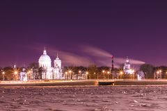 View on the Saint Alexander Nevsky Lavra in Saint Petersburg, Russia in the winter night royalty free stock photo