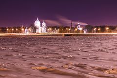 View on the Saint Alexander Nevsky Lavra in Saint Petersburg, Russia in the winter night stock photography