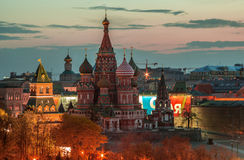 View of the Saint Basil cathedral in Moscow, Russia Stock Images