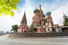 View of Saint Basil's Cathedral across the road Royalty Free Stock Photo
