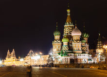 View of Saint Basil's Cathedral in Moscow in night Stock Images