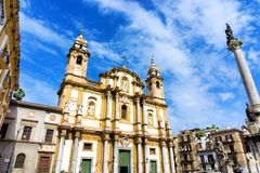 Facade of the Saint Domenico Church in Palermo, Italy royalty free stock photos