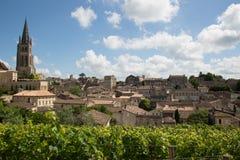 View of Saint Emilion village in Bordeaux region in France. Beautiful cityscape view on Saint Emilion village in Bordeaux region in France stock images