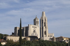 View of Saint Felix Church and the cathedral of Girona Stock Image