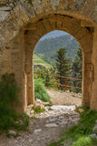 View through Saint Hilarion Castle, Kyrenia, Cyprus. Kyrenia mountains, Cyprus - March 24, 2016: View through Saint Hilarion Castle. The Saint View through Saint stock photography