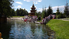 View of Saint Holy Spring in village Diveyevo, Russia stock video footage