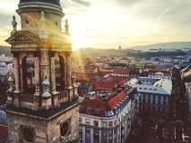 View from saint Istwan basilic. Amazing winter sunset in Budapest, Hungary Royalty Free Stock Photos