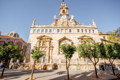 Valencia city in Spain. View on the saint Joan church near the central market during the morning light in Valencia city in Spain Royalty Free Stock Image
