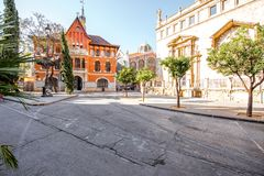 Valencia city in Spain. View on the saint Joan church near the central market during the morning light in Valencia city in Spain Stock Photo