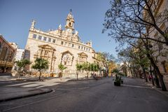 Valencia city in Spain. View on the saint Joan church near the central market during the morning light in Valencia city in Spain Stock Image