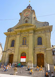 View of Saint Laurent Church in Lausanne in summer Royalty Free Stock Photography